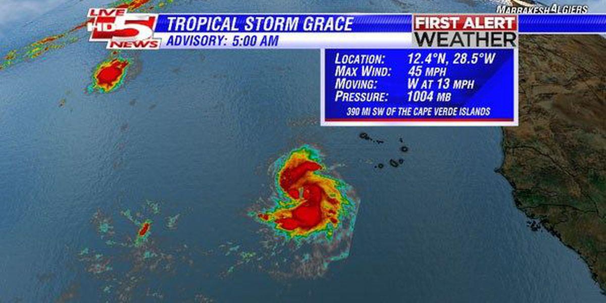 Tropical Storm Grace strengthens in Atlantic