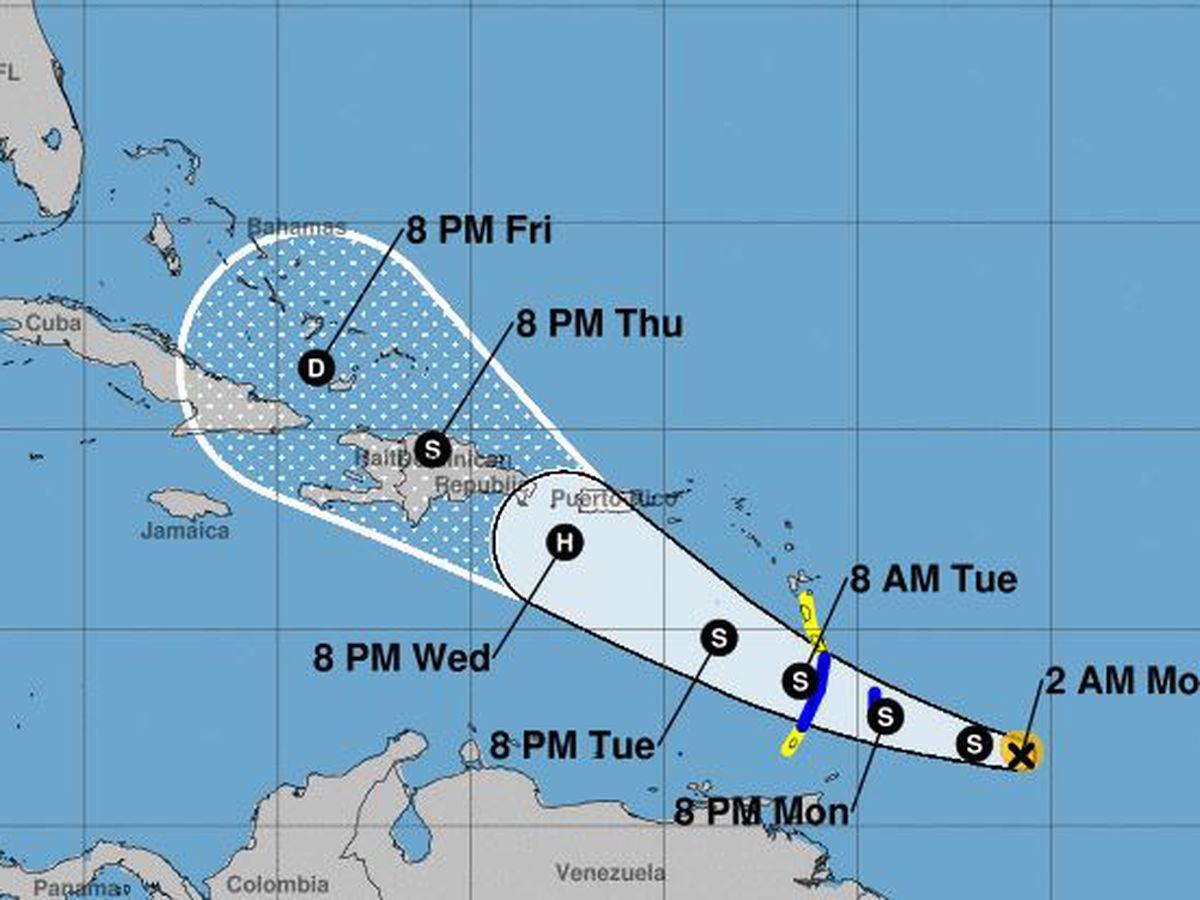 Tropical Storm Dorian continues westward track toward Leeward Islands