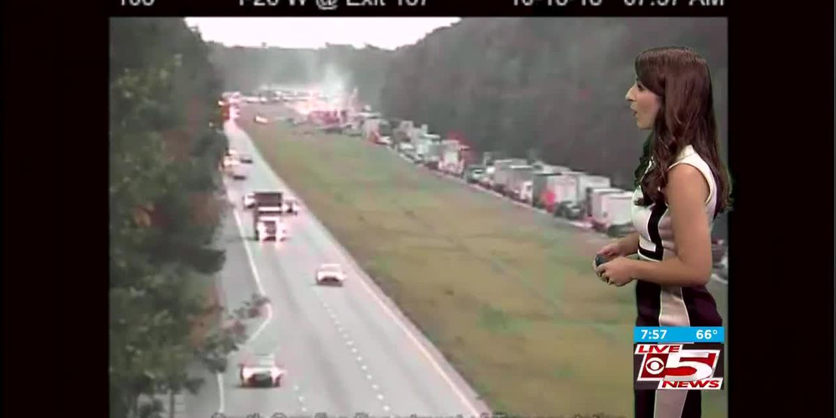 VIDEO: Overturned tractor trailer blocks all eastbound lanes of I-26 near Ridgeville exit