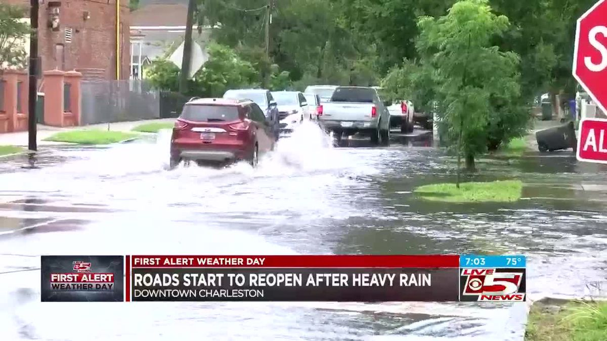 VIDEO: Scattered storms continue, downtown roads reopening