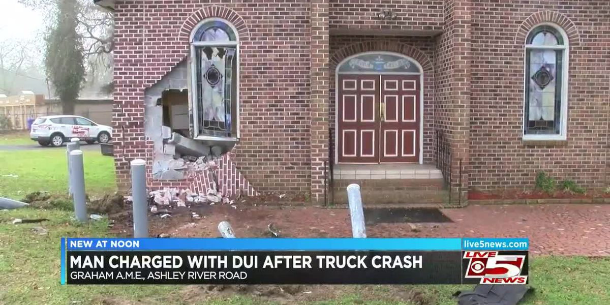VIDEO: Man charged with DUI after crashing into W. Ashley church early Thursday morning