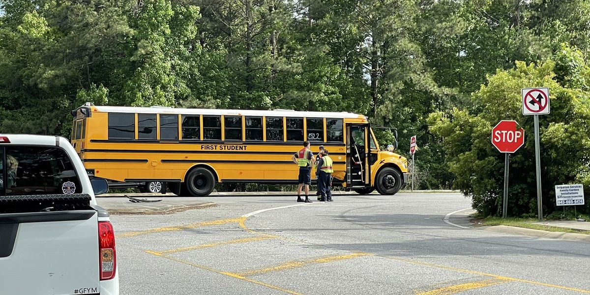 Two people transported to the hospital after accident involving school bus