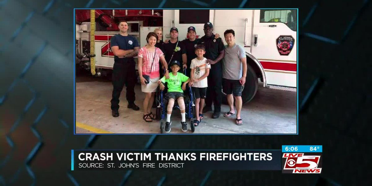 VIDEO: 9-year-old accident victim thanks firefighters for help