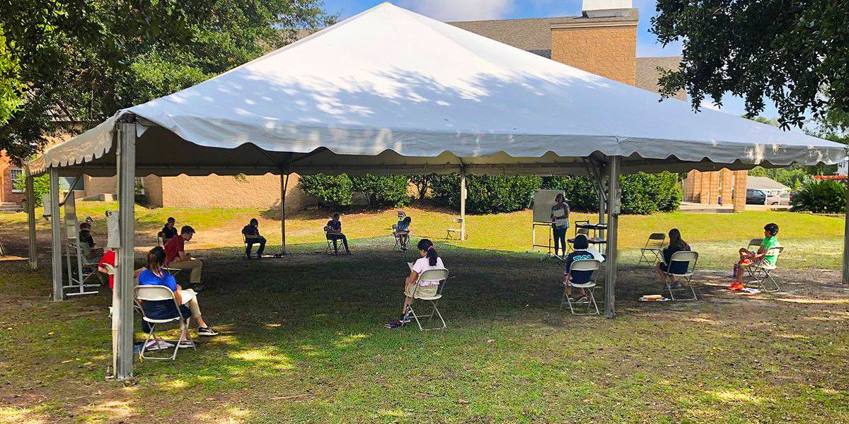 Mt. Pleasant school sets up tents for outdoor classroom space