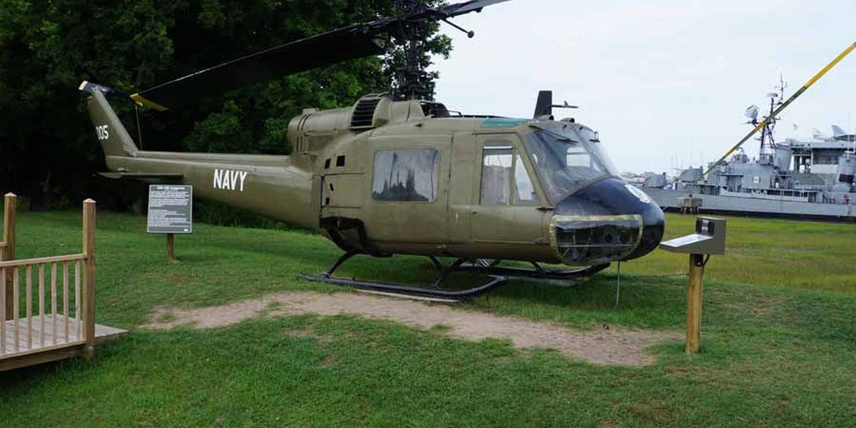 Chopper being dedicated at Patriots Point to soldier killed on aircraft