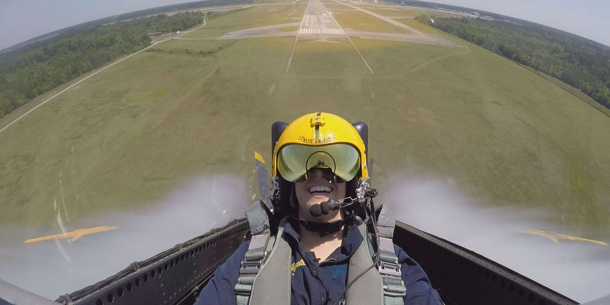 Kaitlin Stansell rides along with Blue Angel #7 ahead of MCAS Beaufort air show