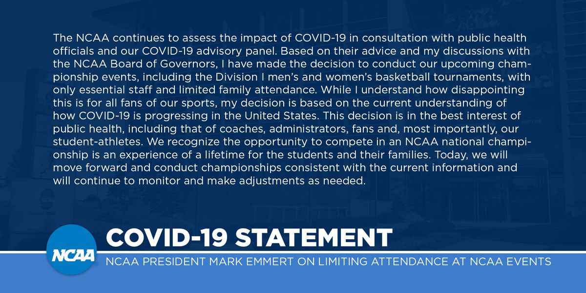 NCAA tournament games will be played without fans due to concerns over coronavirus