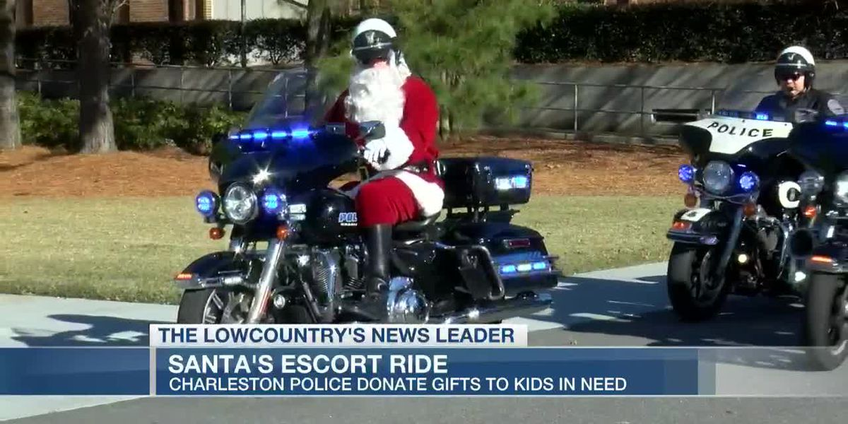 VIDEO: Santa rides motorcycle downtown, helps Charleston Police deliver gifts