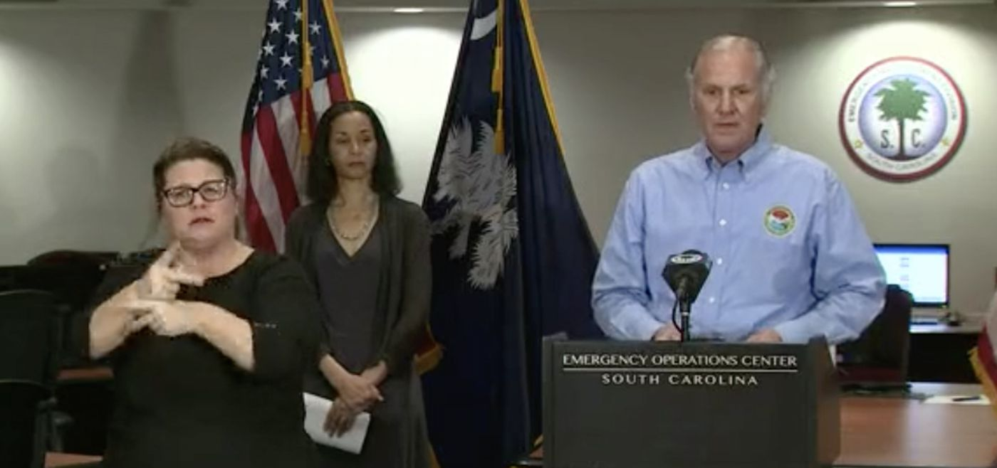 Gov. Henry McMaster speaking during a Thursday afternoon press conference. The governor said that citizens have been making good progress on social distancing.