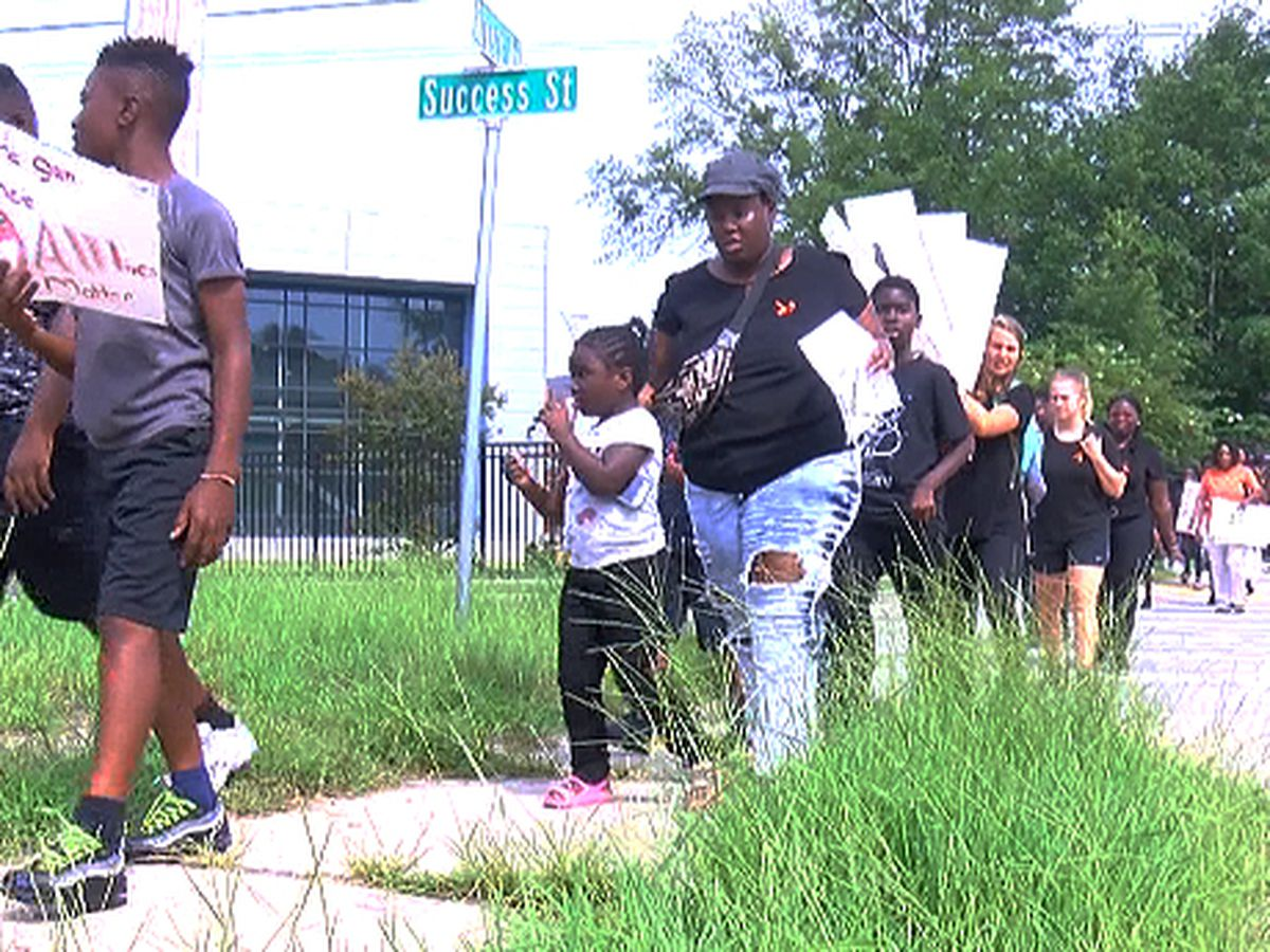 Children in N. Charleston march against gun violence as part of National Day of Social Action