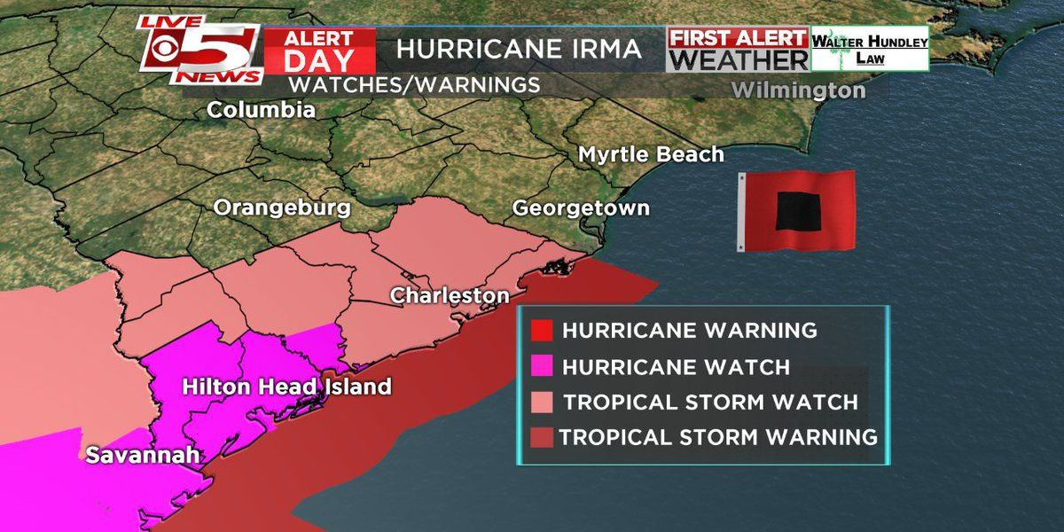 Hurricane watch, storm surge watch in effect for Beaufort; tropical storm watch for Charleston, Colleton counties