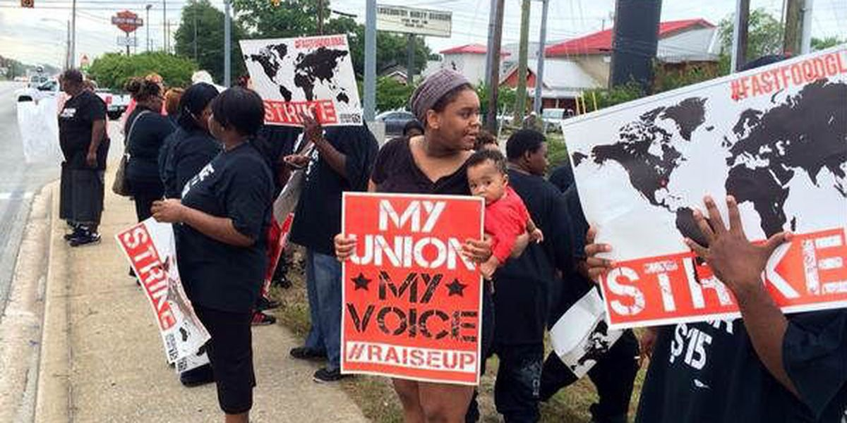 Charleston fast food workers strike, demand higher wages