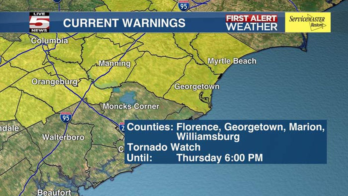 FIRST ALERT: Tornado watch in effect for 21 S.C. counties