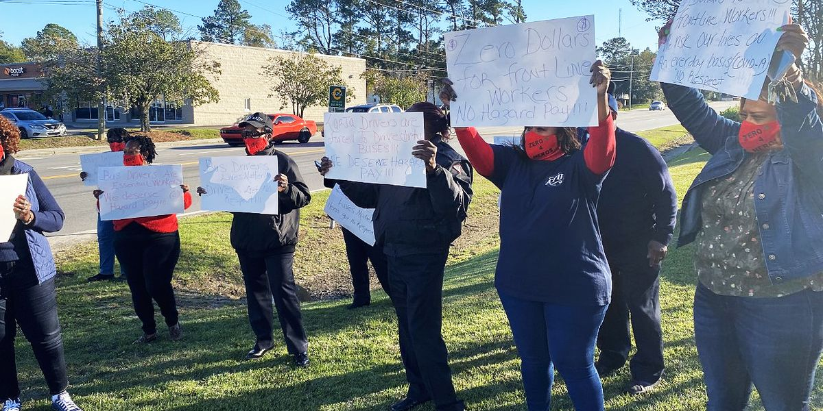 Bus drivers protest outside CARTA garage, call for hazard pay