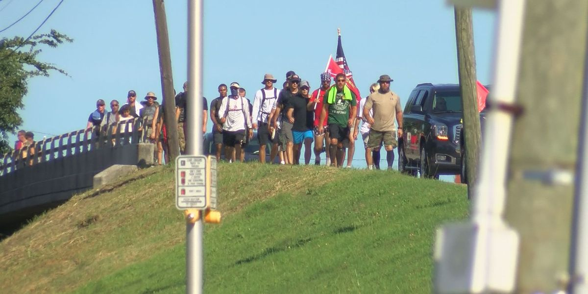 Group walks 32 miles from Summerville to Mt. Pleasant to raise awareness for PTSD among veterans
