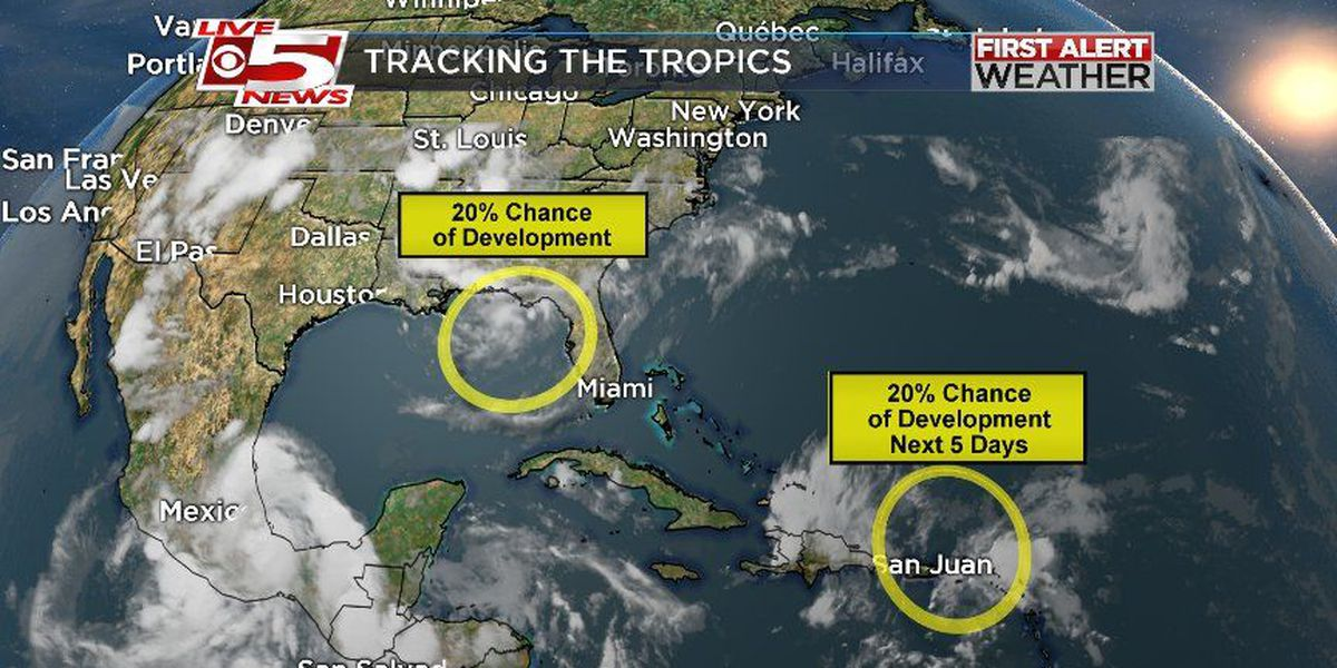 Forecasters watching two areas for possible tropical development