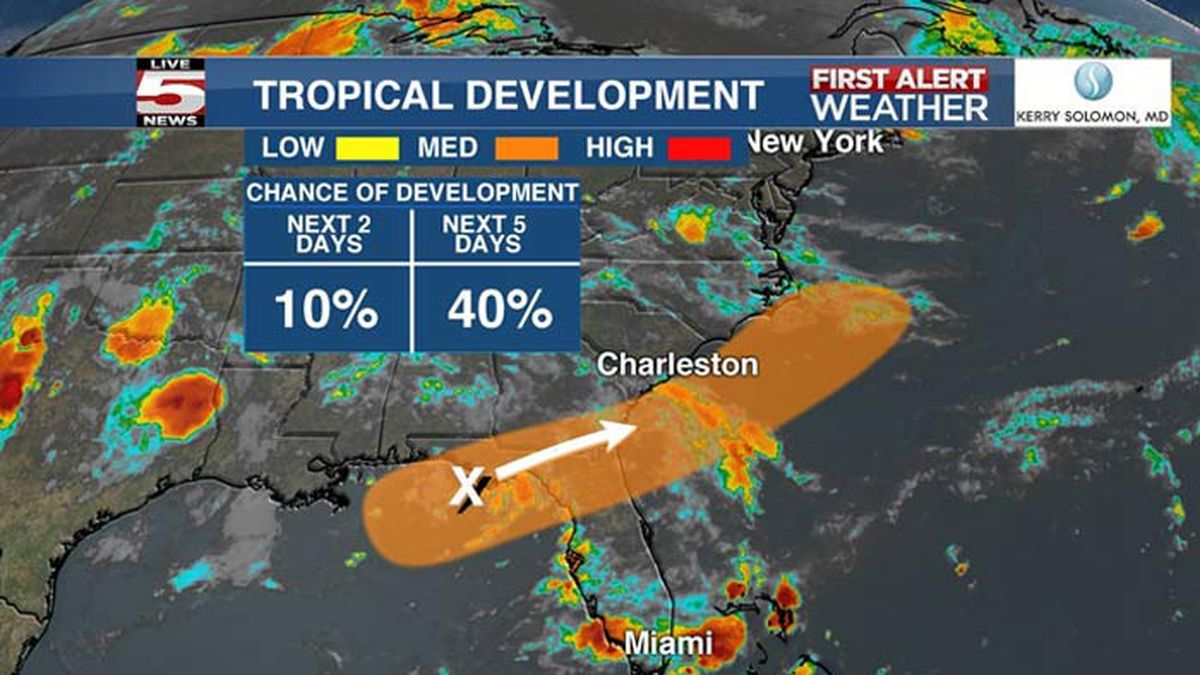 Forecasters watching system in Gulf, could develop off Carolinas coast this week