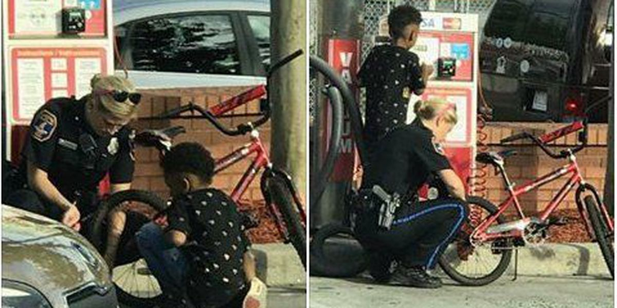 Lending a hand: Charleston PD officer helps boy fill flat tire at West Ashley gas station