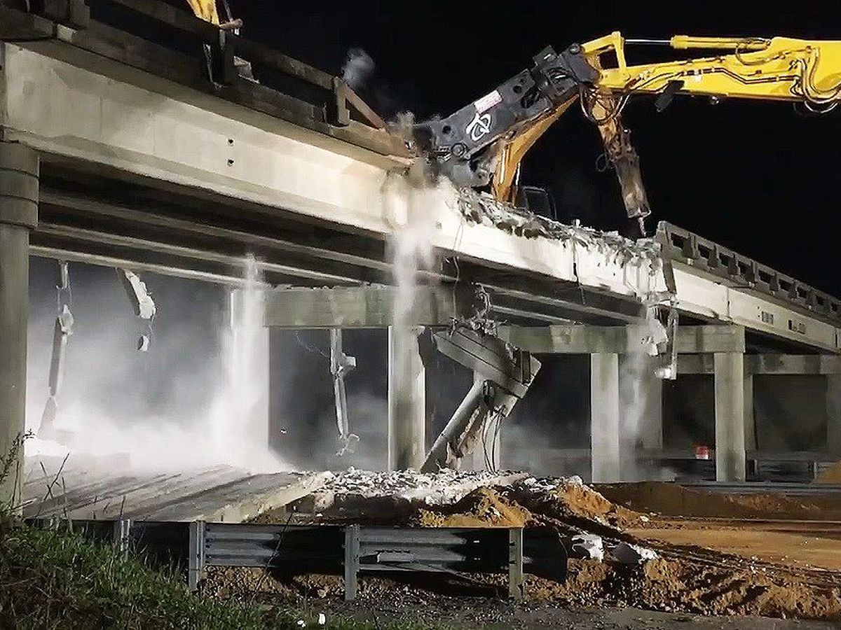 Construction underway on new bridge over I-26 that was hit by truck