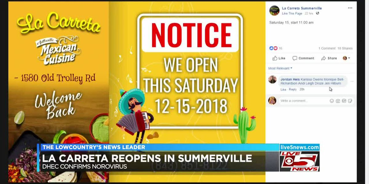 VIDEO: Summerville Mexican restaurant reopens after people reported illness