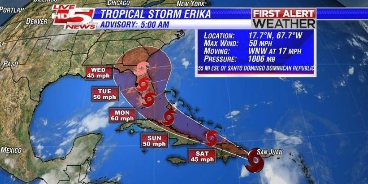 FIRST ALERT WEATHER: Erika's track moves further west, could still impact Lowcountry