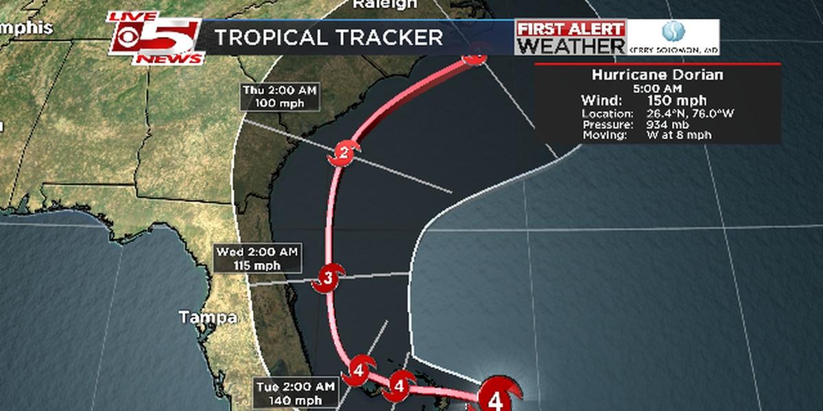 Slow-moving Hurricane Dorian heads toward southeast U.S.