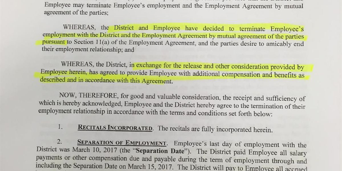Bcsd Releases Separation And Release Agreement After Former