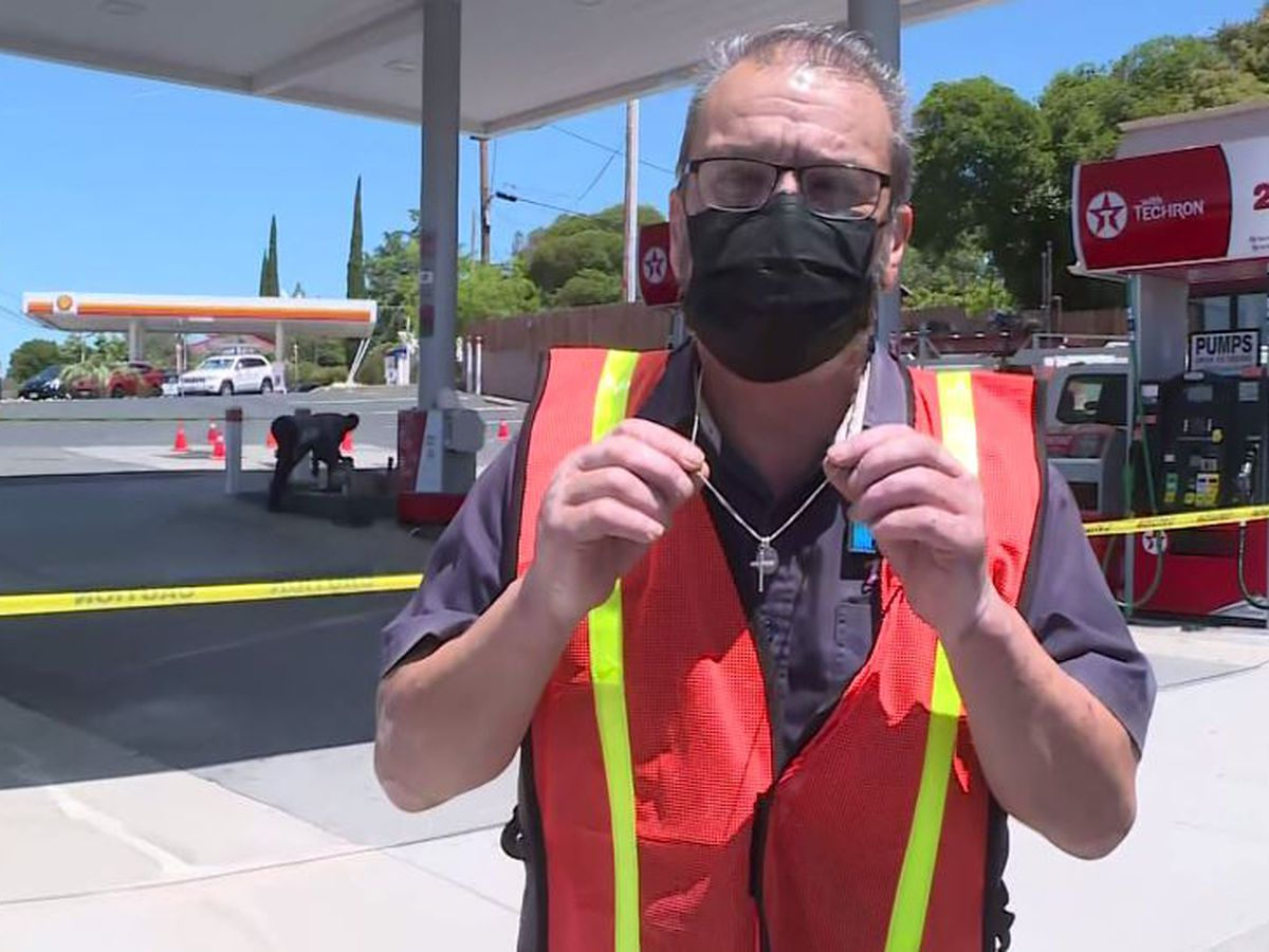 Gas station worker nearly hit as truck plows into pump