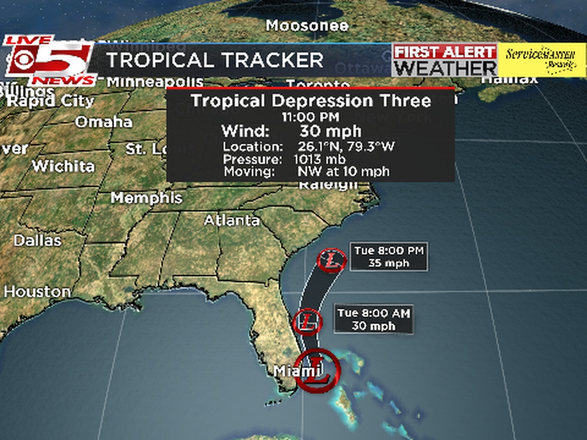 Tropical Depression #3 continues moving northwest Monday night, east of south Florida