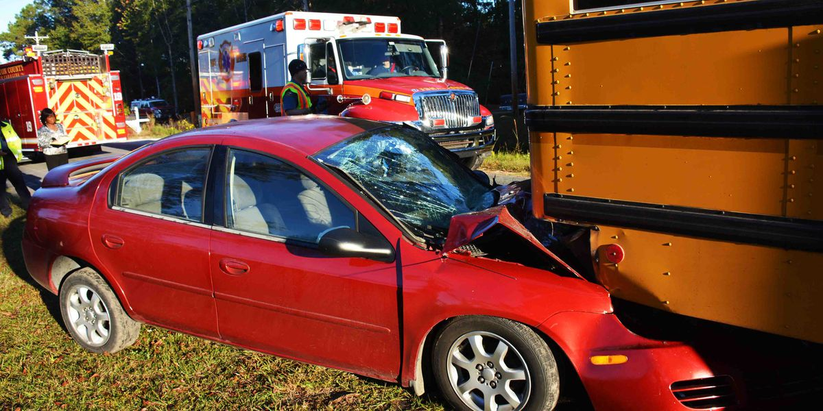SCHP: Car crashes into school bus injuring 13 kids, 2 adults