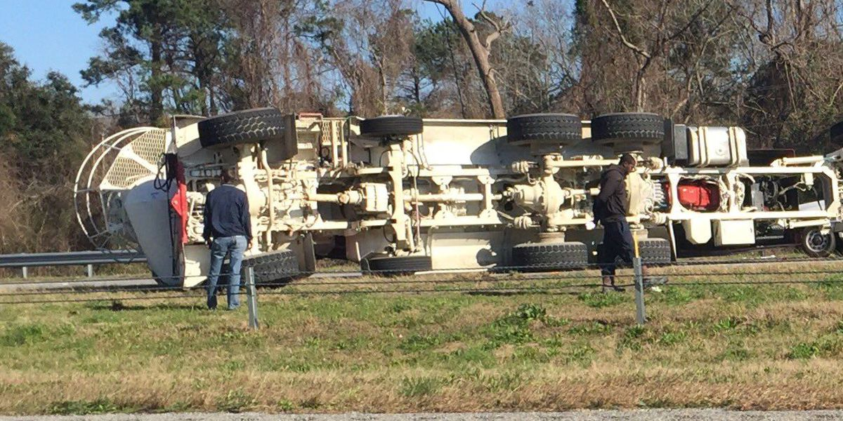 Scene cleared on I-526EB after concrete mixer overturns