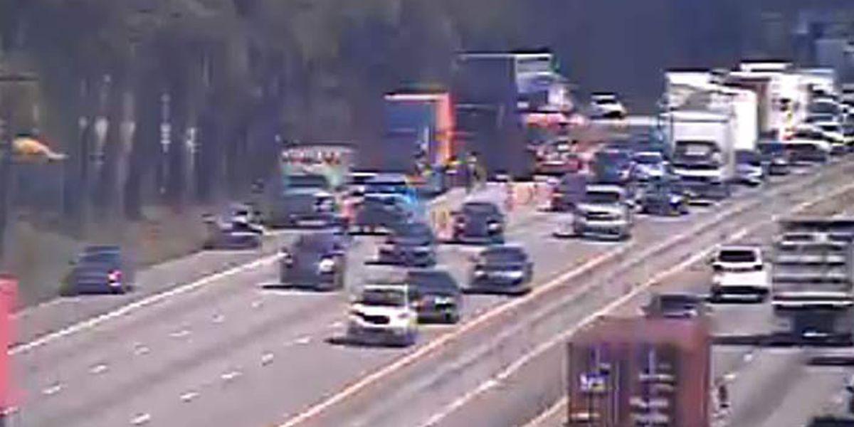 All I-26 eastbound lanes reopen after crash near University Blvd.