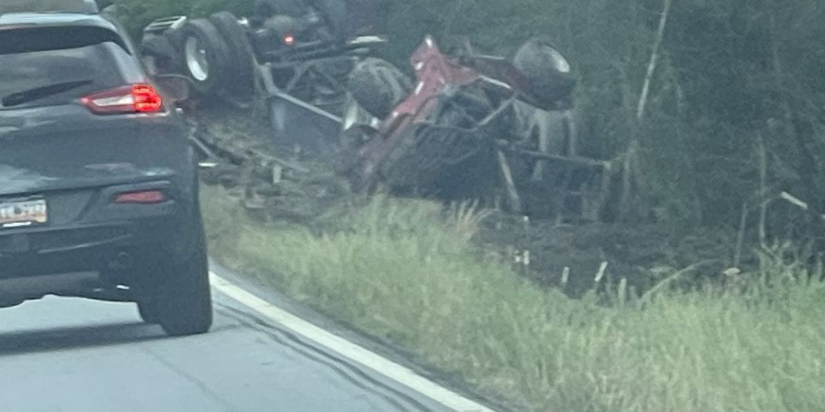 Overturned 18-wheeler shuts down Hwy 78. in Dorchester County