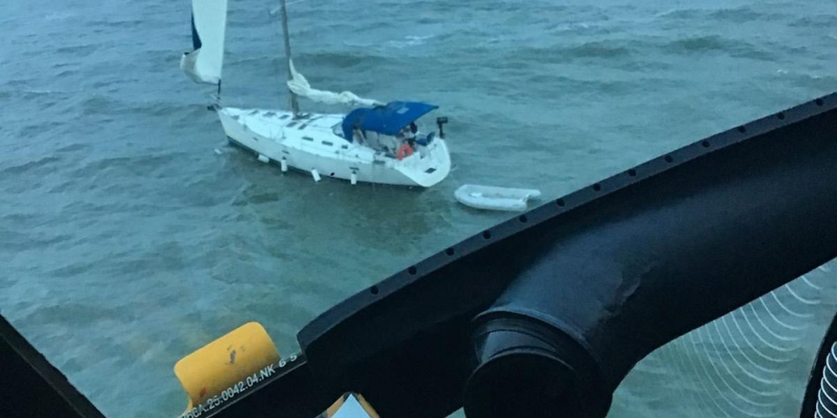 Coast Guard rescues two after sailing vessel runs aground near Edisto Island