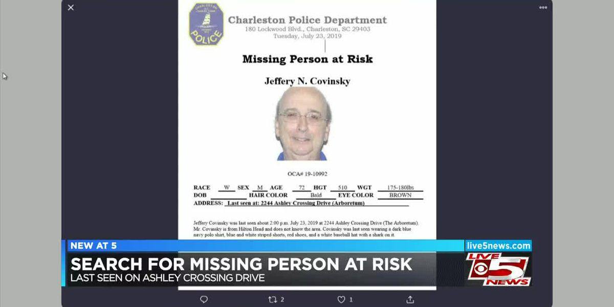 VIDEO: Charleston police searching for missing Hilton Head man last seen in W. Ashley