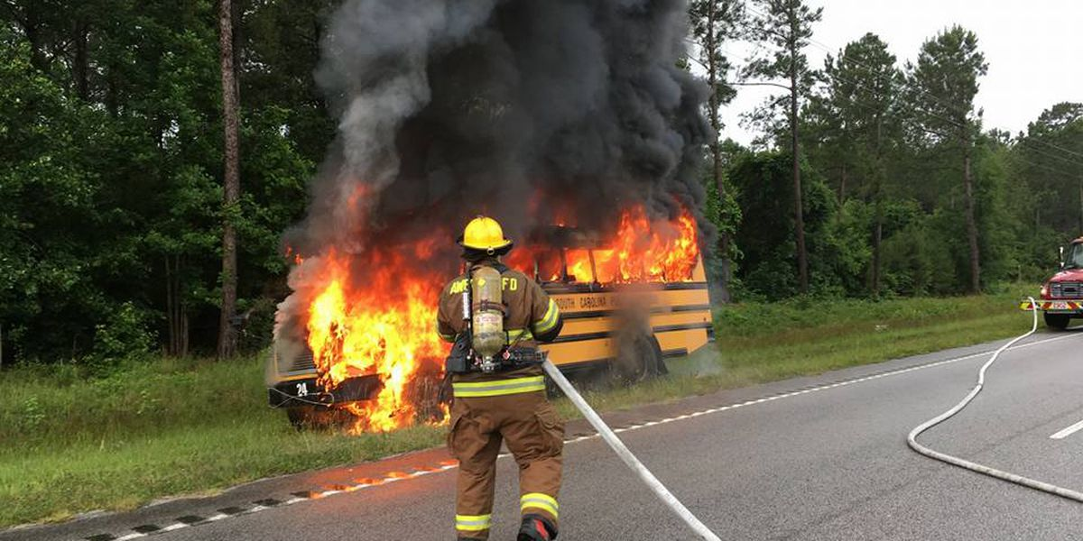 No injuries following school bus fire on Highway 17 in Awendaw