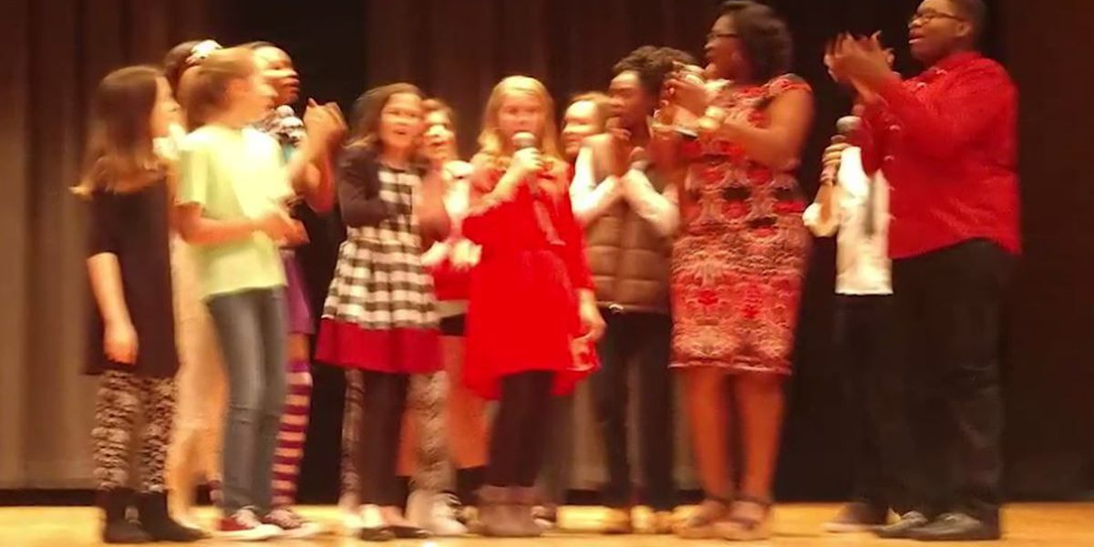 7th grader with stage fright gets by with a little help from her friends