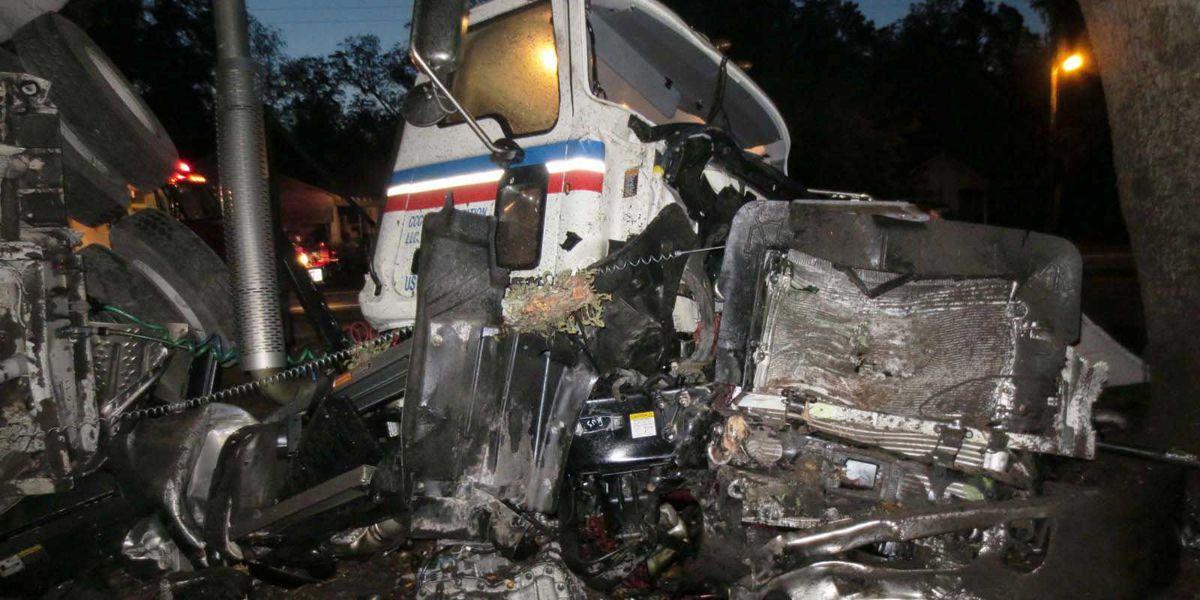 Orangeburg man survives after semi-truck overturns, breaks in two