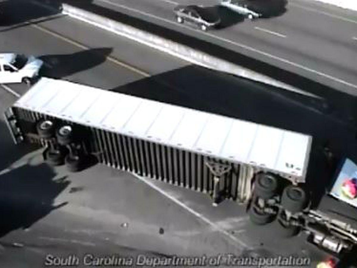 Overturned tractor-trailer blocks Ashley Phosphate ramp near I-26