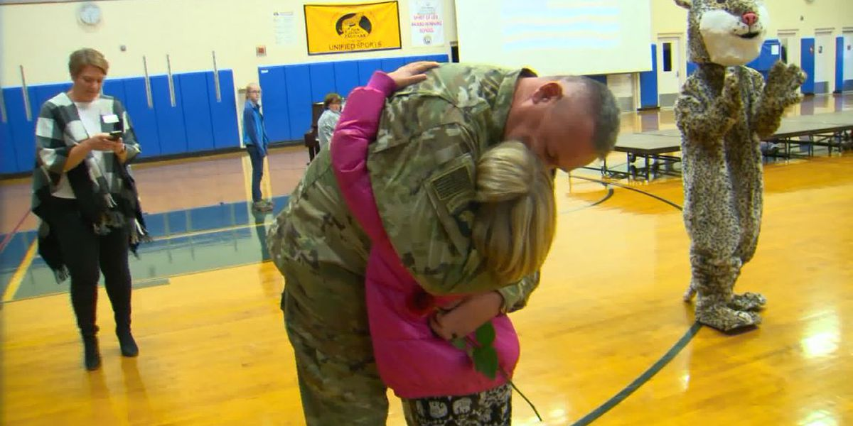 Army officer surprises daughter at school after 6 months away