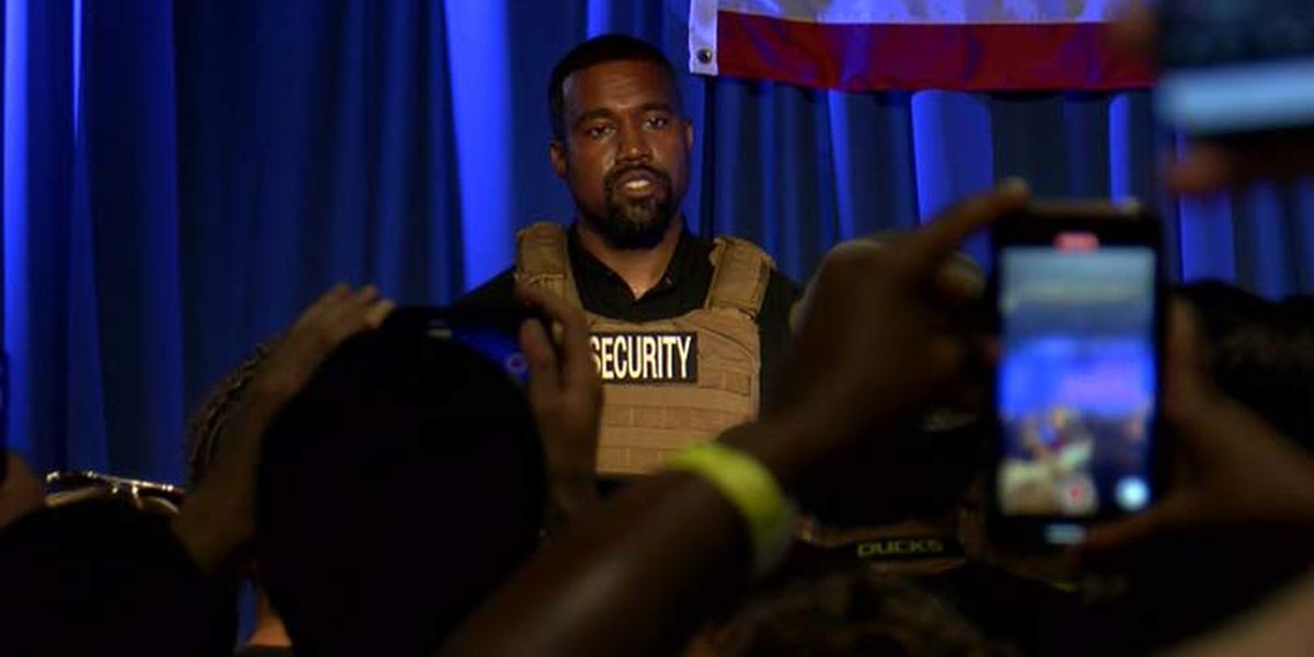 Kanye West holds campaign rally in North Charleston Sunday