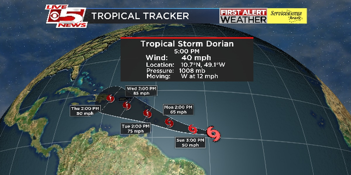 Tropical Storm Dorian forms in Atlantic