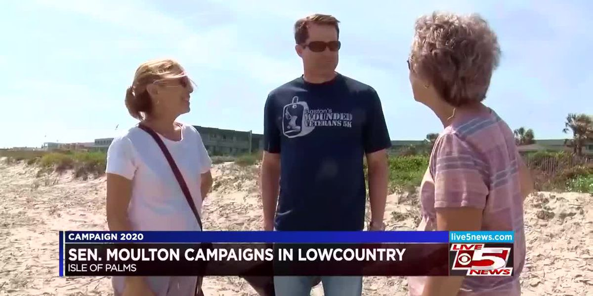 Presidential candidate Seth Moulton meets with supporters in the Lowcountry