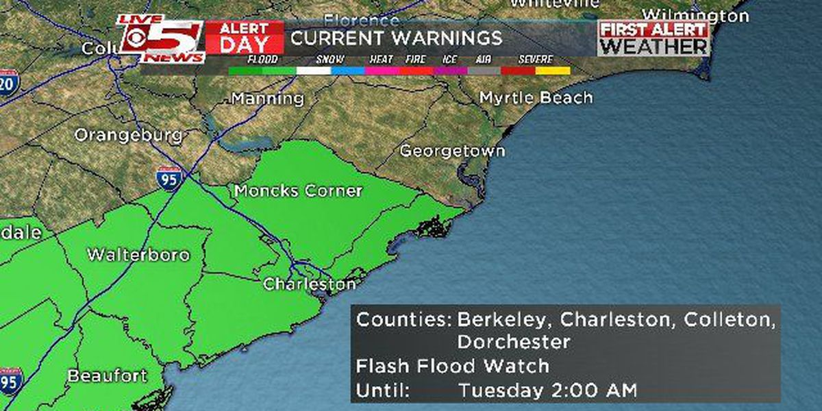 FIRST ALERT: Flash Flood Watch in effect from Sunday evening through early Tuesday morning