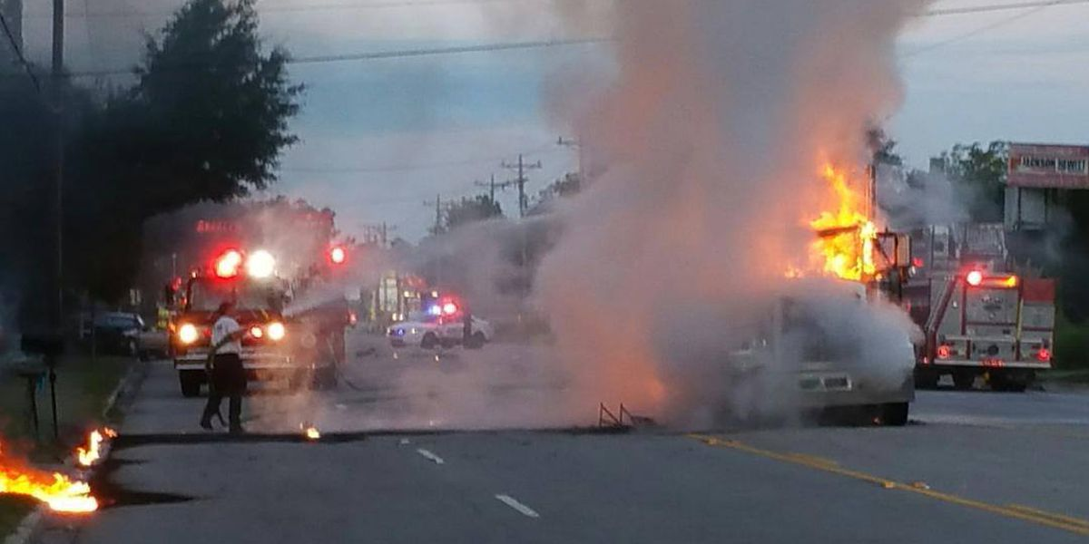 Log truck catches fire following accident in Walterboro