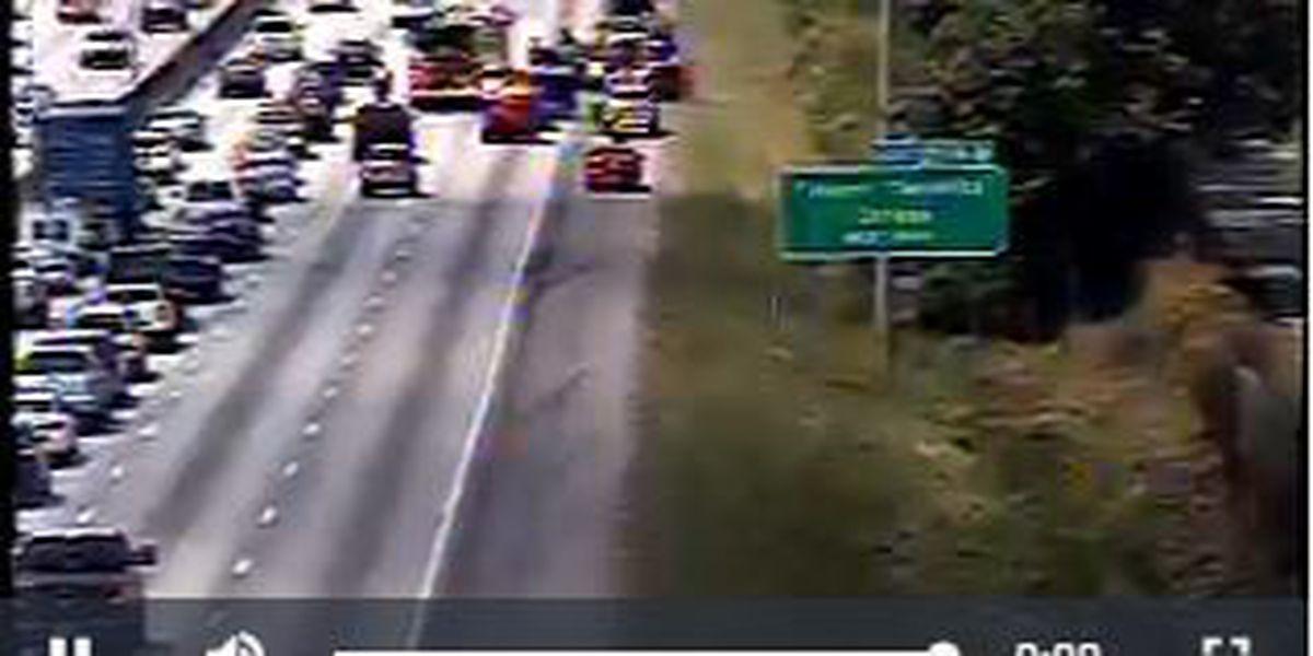 Crews clear overturned vehicle on I-26WB near Ashley Phosphate