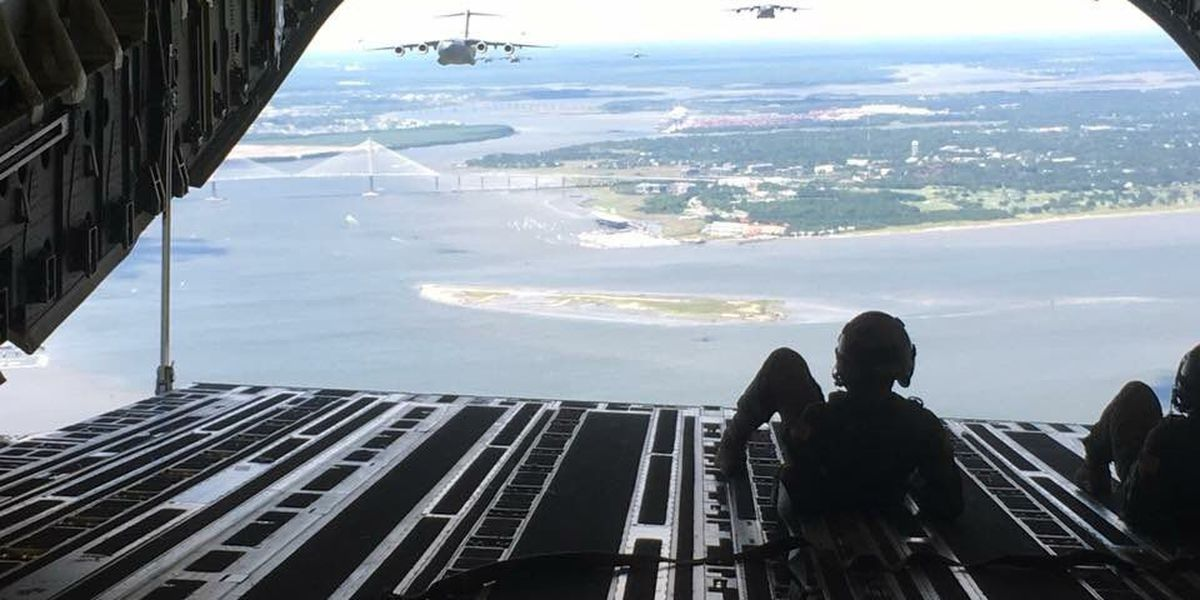 C-17s fly over Ravenel Bridge en route to airdrop exercise