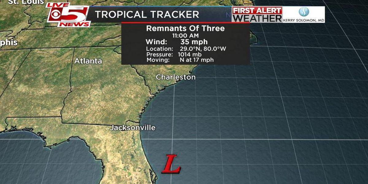 Tropical Depression #3 dissipates along the eastern coast of Florida