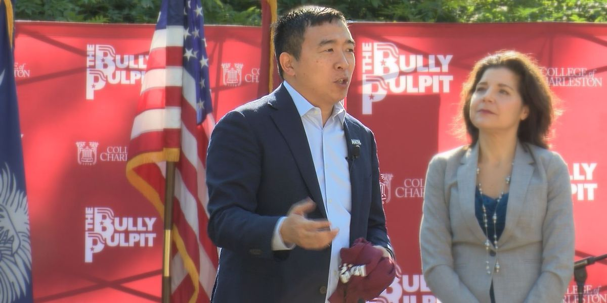 Democratic presidential candidate Andrew Yang speaks at CofC