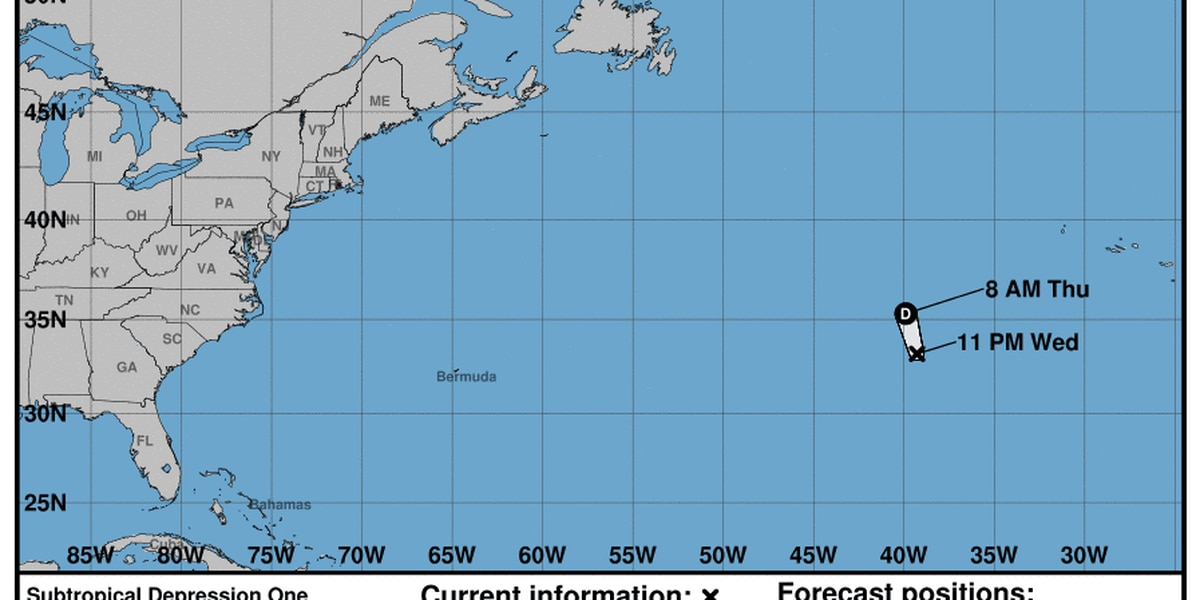 Subtropical depression continues moving north east in Atlantic, no strengthening